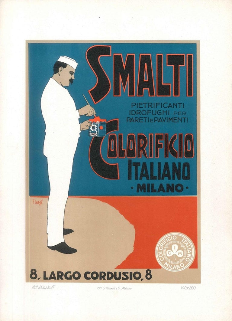 Smalti Colorificio - Vintage Advertising Lithograph by A. Terzi - 1900 ca. - Print by Aleardo Terzi