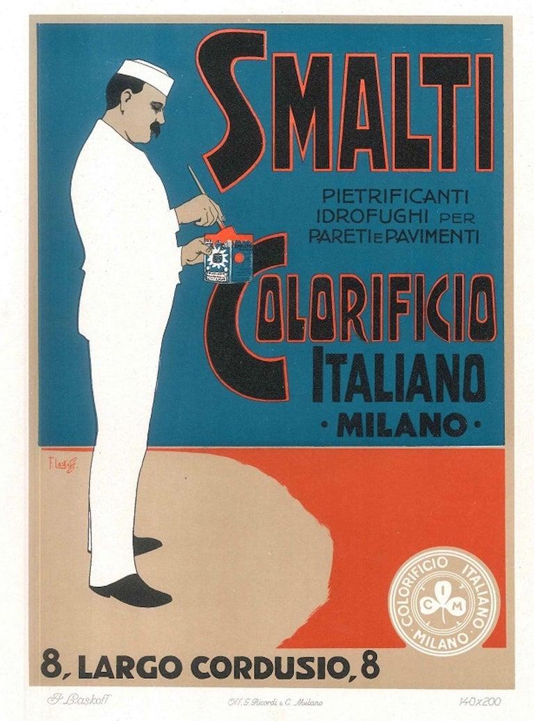 Aleardo Terzi Figurative Print - Smalti Colorificio - Vintage Advertising Lithograph by A. Terzi - 1900 ca.