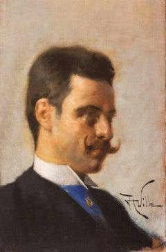 Aleardo Villa, Male portrait, 1890 circa, oil on canvas, signed