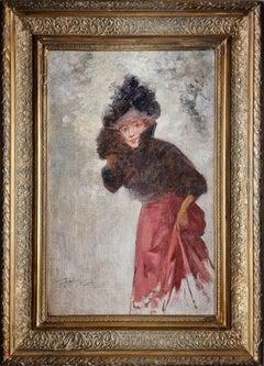 Portrait of an Elegant Italian Lady oil on canvas signed circa 1900