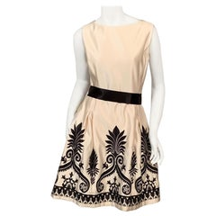 Alease Fisher Cream Silk Cocktail Dress with Black Embroidery