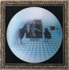 Birds - lenticular photo, white, sky-blue, black
