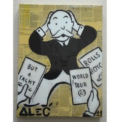 "Original Alec Monopoly Acrylic ""What to Buy "" Painting With COA 2011"