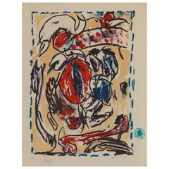 Alechinsky Pierre '1927-' Abstract Lithography Framed and Signed