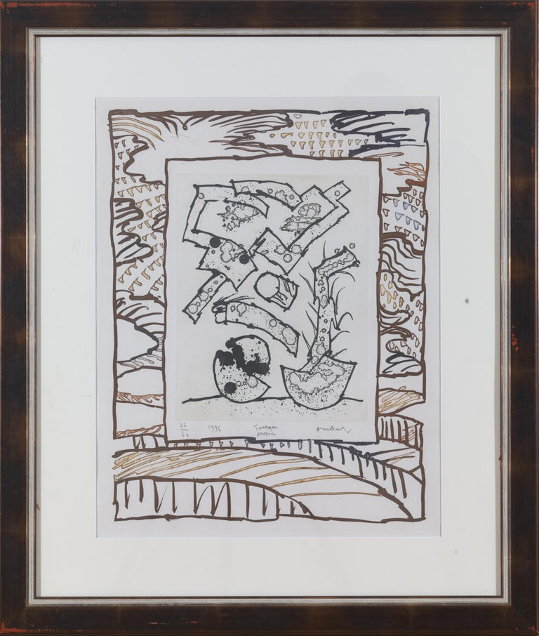 Other Alechinsky Pierre, Terrain Propre, Lithography, Framed, Signed and Dated For Sale