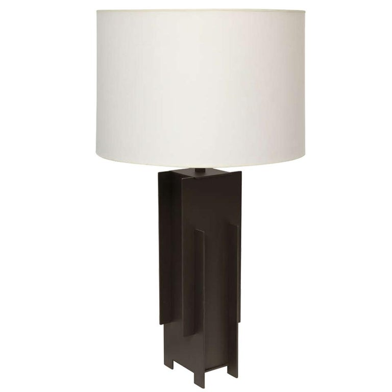 Alecia Wesner Table Lamp Mid-Century Modern Architectural Mixed Metals For Sale