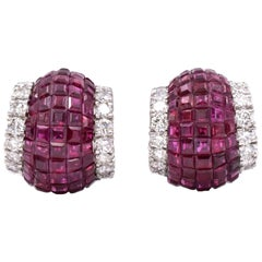 Aletto Brothers Invisibly-Set Ruby and Diamond Earclips