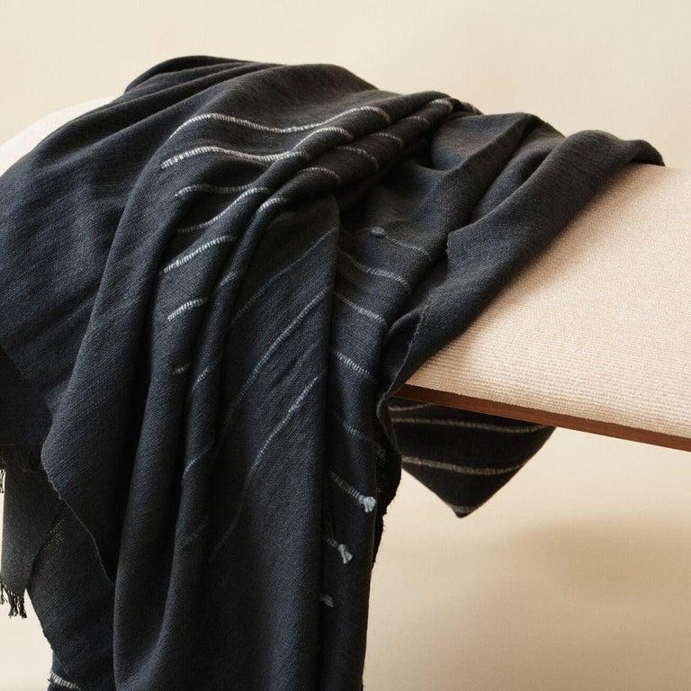 Alei Black & Grey  Handloom Throw / Blanket In Stripes Pattern  For Sale 1