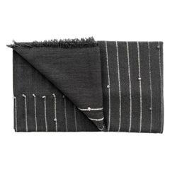 Alei Black & Grey King Size Handloom Bedspread / Coverlet in Stripes Pattern