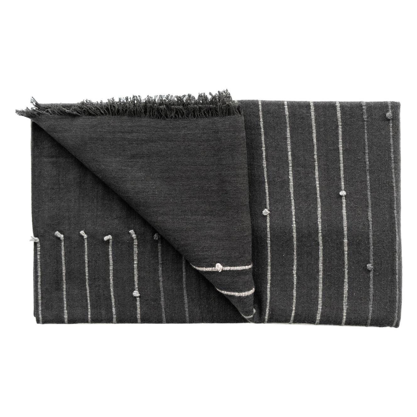 Alei Black & Grey Queen Size Handloom Bedspread / Coverlet in Stripes Pattern