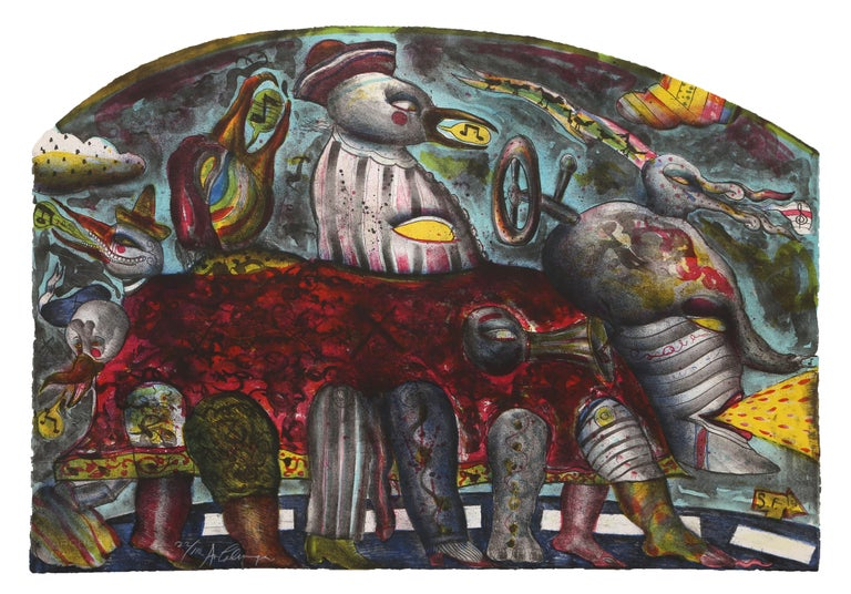 Artist: Alejandro Colunga, Mexican (1948 - ) Title: Autobus Year: 1979 Medium: Lithograph on Arches, signed and numbered in pencil Edition: 110 Size: 25 x 36 in. (63.5 x 91.44 cm)