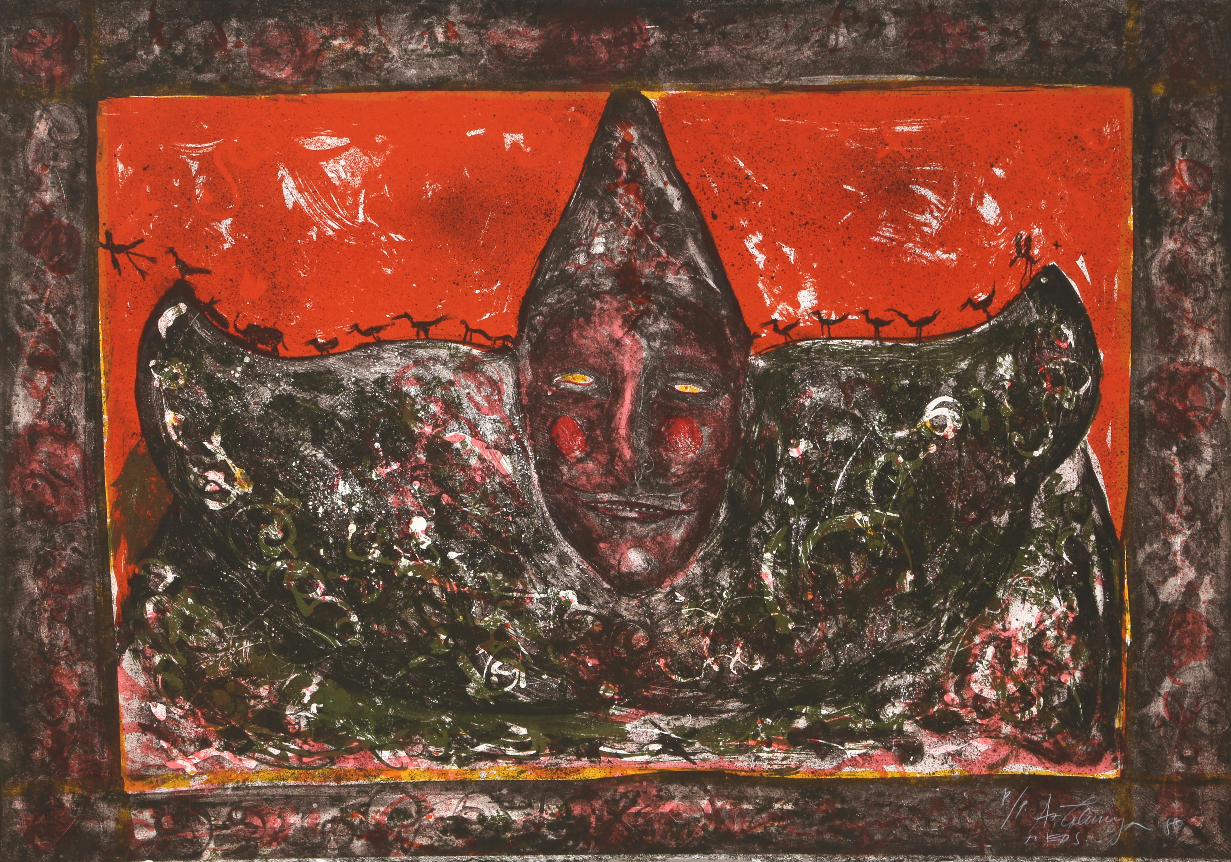 Payaso (Red), Lithograph by Alejandro Colunga