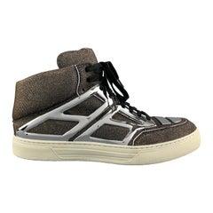 ALEJANDRO INGELMO Size 10.5 Silver & Gold Metallic Argento TRON High Top Sneaker