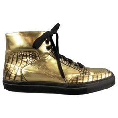 ALEJANDRO INGELMO Size 9.5 Gold Embossed Leather High Top Sneakers