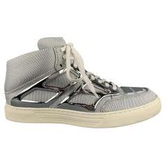 ALEJANDRO INGELMO TRON Size 8 Silver Metallic Canvas High Top Sneakers