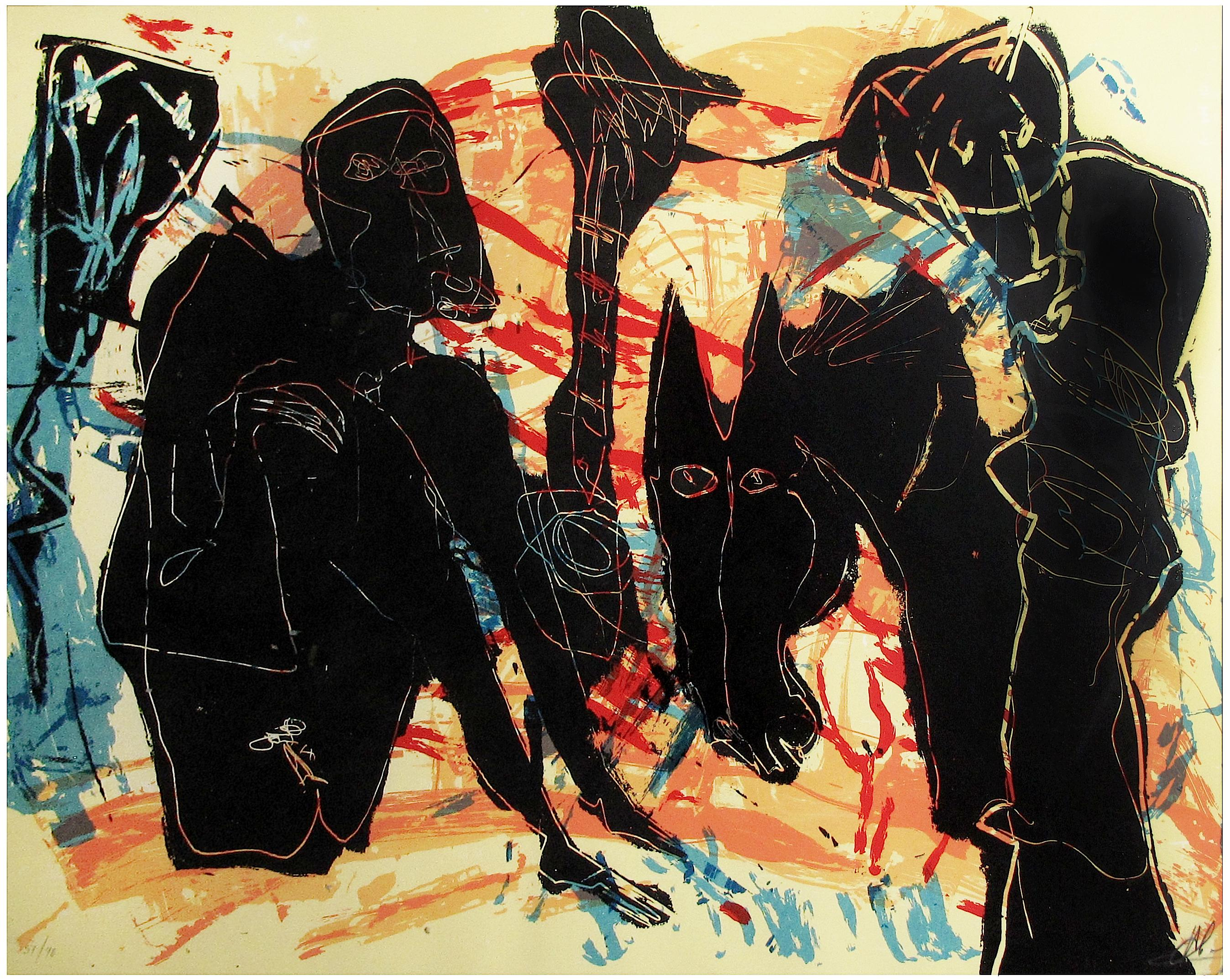 Untitled (Black Figures with Horse)