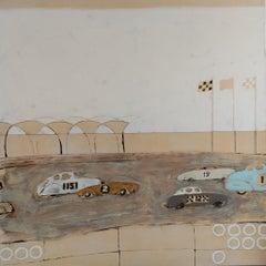 La carrera de Malecón- Portugal, Contemporary oil on canvas painting, Warm tones