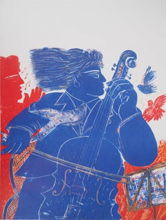 Greece : Music, Man with Cello, Singer and Birds - Original lithograph
