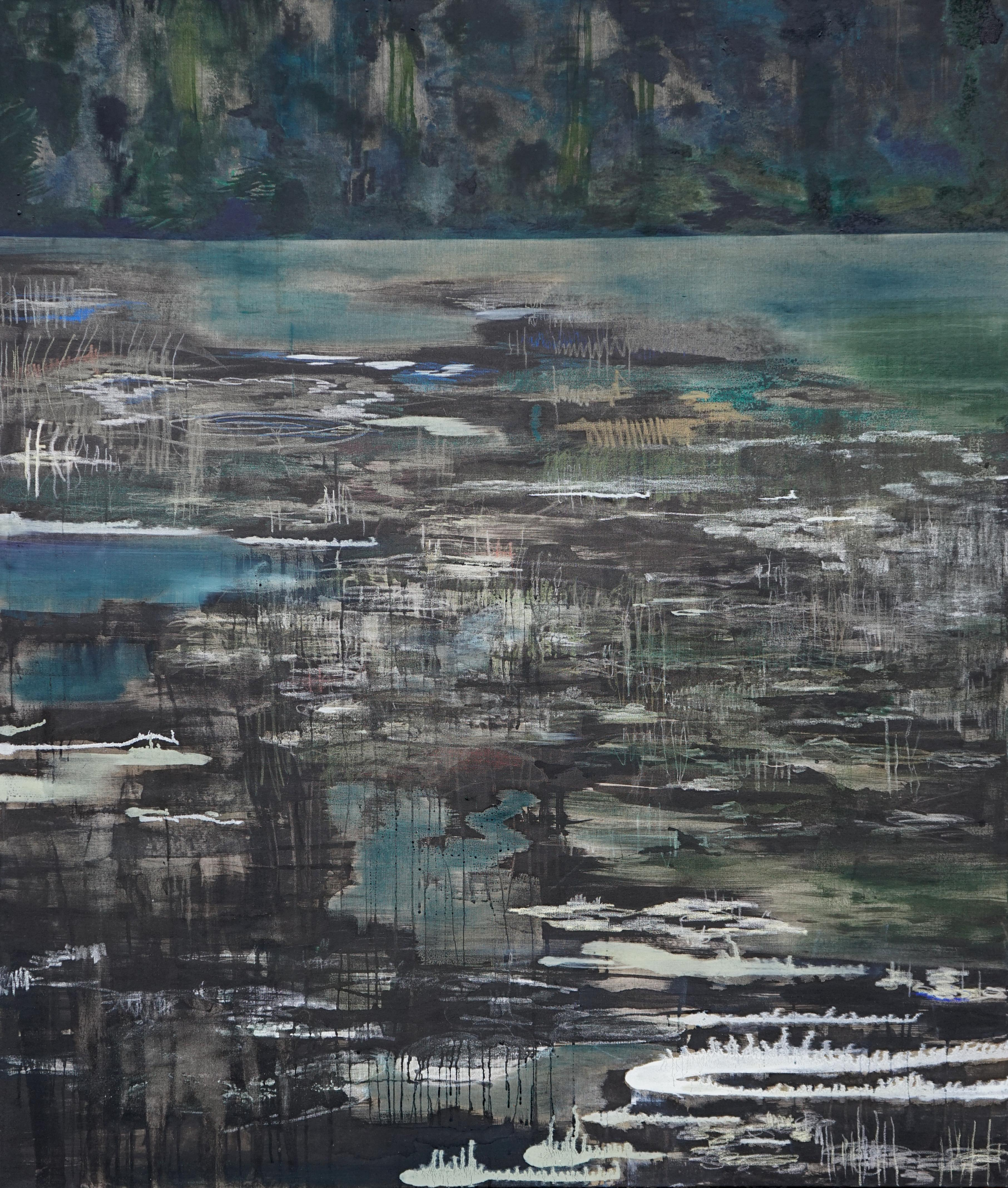 River Bend - Large Format Contemporary Nature Painting, Landscape