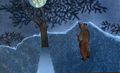 Amuse Bouche - Contemporary Figurative Nature Animal Oil Painting, Bear, Trees