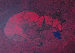 Hunting Hunter 2 (Sleeping Wolf) - Animals Oil Painting, Magical Realism, Nature