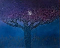 The Chestnut And The Moon - Contemporary Figurative Nature Oil Painting, Trees