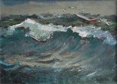 Gulls over the sea,  1973. Oil on canvas, 50x70 cm