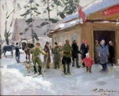 Kolkhoz in winter. 1950, oil on cardboard, 28.5x35.5 cm