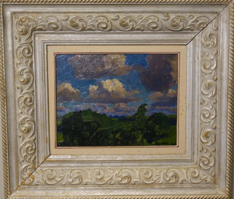 """Aleksei and Sergei Tkachev Figurative Painting - """"Clouds"""" Oil cm. 27 x 21"""
