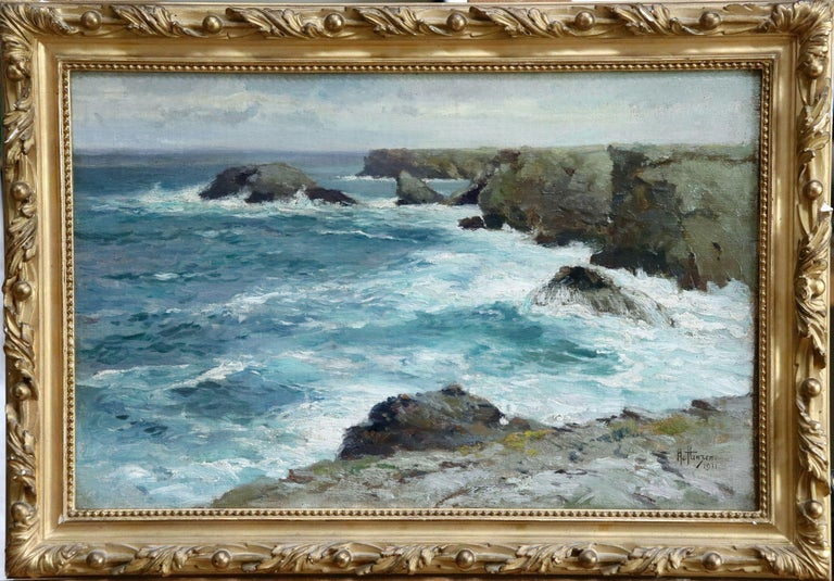 On the Coast- 19th Century Oil, Sea & Cliffs Coastal Landscape - Aleksei Hanzen  For Sale 1