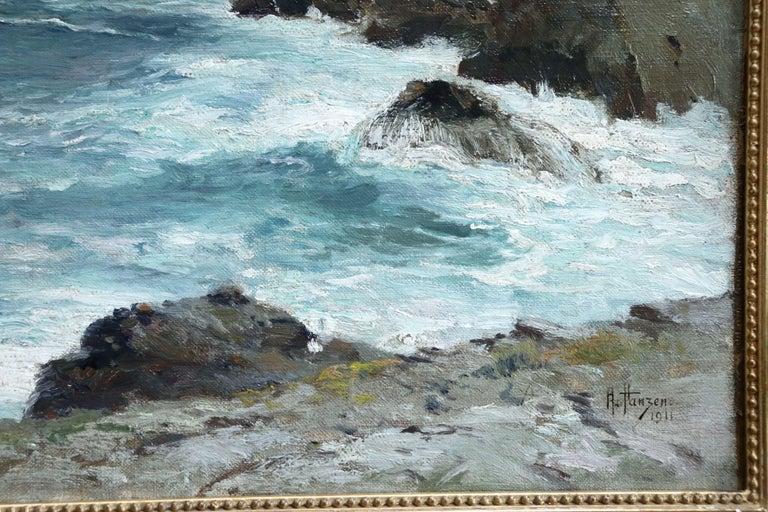 On the Coast- 19th Century Oil, Sea & Cliffs Coastal Landscape - Aleksei Hanzen  For Sale 2