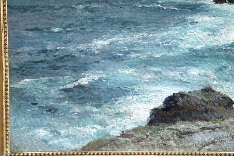 On the Coast- 19th Century Oil, Sea & Cliffs Coastal Landscape - Aleksei Hanzen  For Sale 3