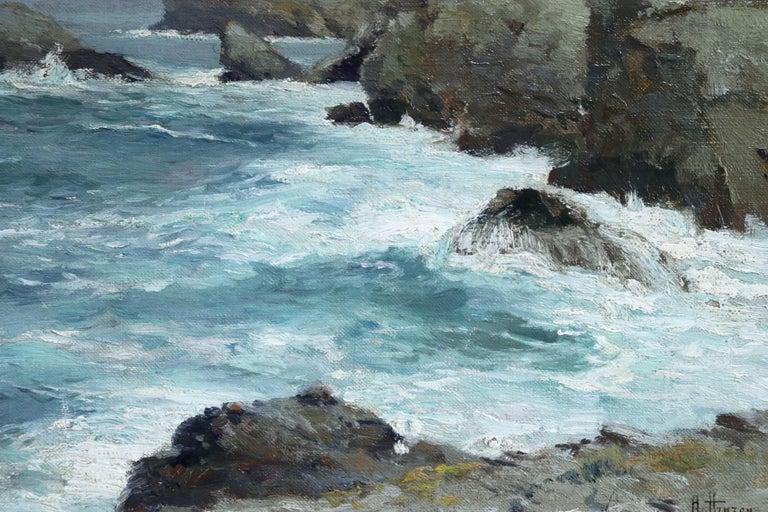 On the Coast- 19th Century Oil, Sea & Cliffs Coastal Landscape - Aleksei Hanzen  For Sale 4