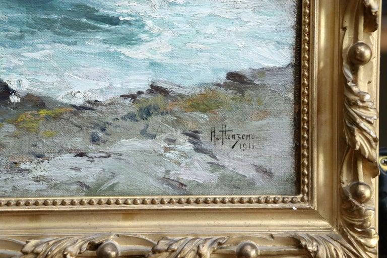 On the Coast- 19th Century Oil, Sea & Cliffs Coastal Landscape - Aleksei Hanzen  For Sale 5