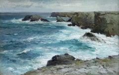 On the Coast- 19th Century Oil, Sea & Cliffs Coastal Landscape - Aleksei Hanzen