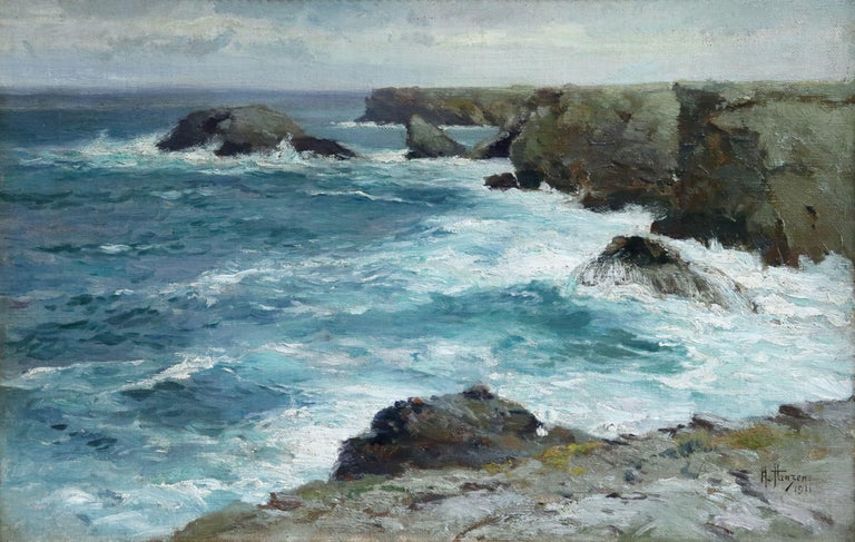 Oil on board by Aleksei Vasilievich Hanzen of waves crashing a on the coastline. Signed and dated 1911 lower right. Framed dimensions are 13 inches high by 18 inches wide.  Grandson of the famous seascape painter Ivan Aivazovski, Aleksei von Hanzen