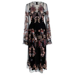 Alena Akhmadullina Black Embroidered Mesh Maxi Dress US6