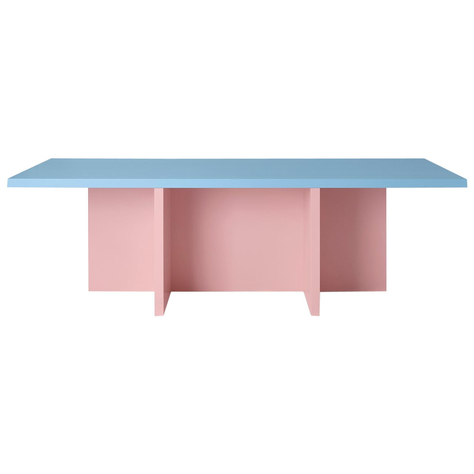 Color-Blocked Pink Lacquered MDF Rectangular Dining Table by Studio Bannach
