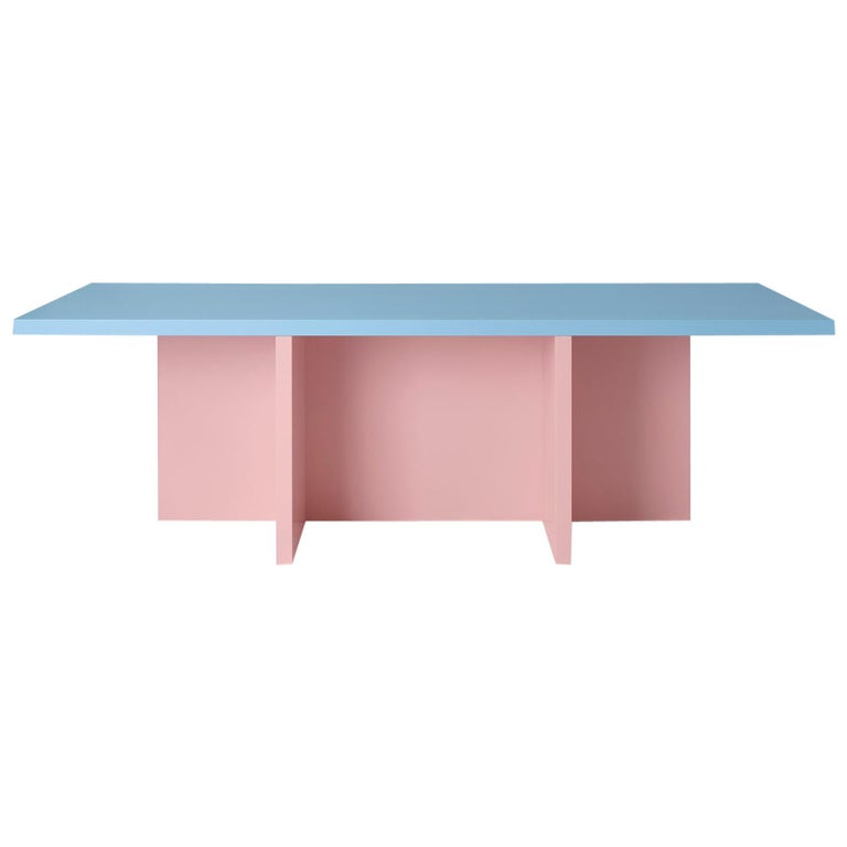 Color-Blocked Pink Lacquered MDF Rectangular Dining Table by Studio Bannach For Sale