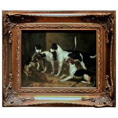Alert Hounds, Oil Painting on Pine Panel, Late Victorian British School