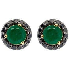 Alessa Emerald Stud and Cluster 18 Karat Yellow Gold Bloom by Lu Collection