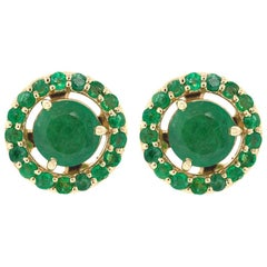 Alessa Emerald Stud and Emerald Cluster 18 Karat Gold Bloom by Lu Collection