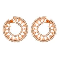 Alessa Force Hoops Pave Earrings 18 Karat Rose Gold Eruption Collection