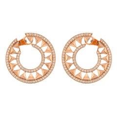Alessa Force Hoops Pave Earrings 18 Karat Rose Gold