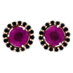 Alessa Ruby Stud and Black Cluster 18 Karat Rose Gold Bloom by Lu Collection