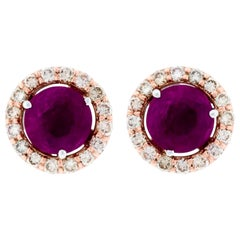 Alessa Ruby Stud and Diamond Cluster 18 Karat White Gold Bloom by Lu Collection