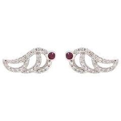 Alessa Ruby Swan Pave Studs 18 Karat White Gold Give Wings Collection