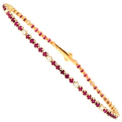 Alessa Tennis Bracelet Red Ruby 18 Karat Rose Gold Essentials Collection