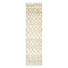 Alessandra, Bohemian Shaggy Moroccan Hand Knotted Area Rug, Parchment