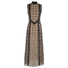 Alessandra Rich Black Check Lace Dress With Black Macrame Chains S